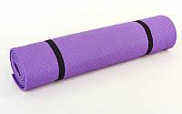 Коврик для фитнеса PVC 3мм YG-2773 Yoga mat (р-р 1,73м*0,61м*3мм, синий,фиолетовый, фиксир. резинка)