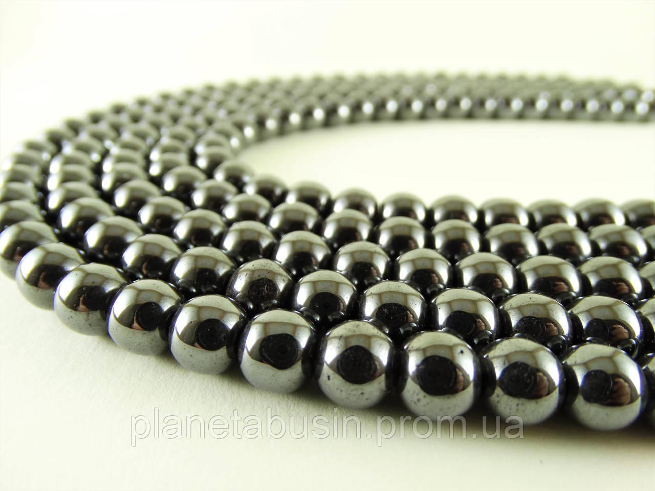 10 мм Гематит, Натуральный камень, На нитях, бусины 10 мм, Отверстие 1,5 мм, количество: 38-40 шт/нить