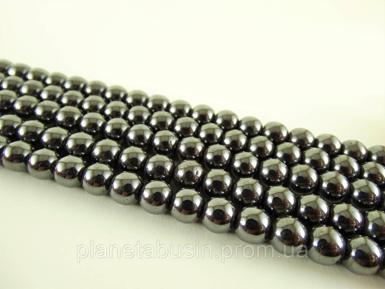 6 мм Бусины Гематит, Натуральный камень, На нитях, бусины 6 мм, Отверстие 1 мм, количество: 62-65 шт/нить