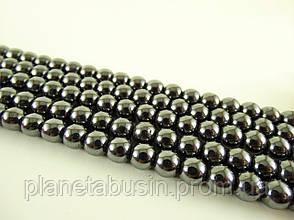 6 мм Бусины Гематит, Натуральный камень, На нитях, бусины 6 мм, Отверстие 1 мм, количество: 62-65 шт/нить, фото 2