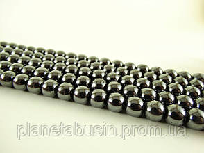 6 мм Бусины Гематит, Натуральный камень, На нитях, бусины 6 мм, Отверстие 1 мм, количество: 62-65 шт/нить, фото 3