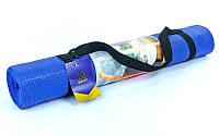 Коврик для фитнеса PVC 4мм YG-2774 Yoga mat (р-р 1,73м*0,61м*4мм, синий,фиолетовый, фиксир. резинка)