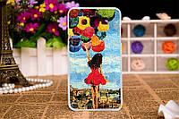 Силиконовый чехол для Samsung Galaxy J3 J300 с рисунком девушка с шарами