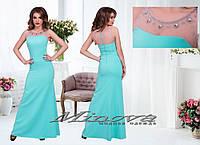 Платье женское длинное костюмка украшено вставками сетки с сверкающими камнями-стразами Размеры:42,44,46,48, фото 1