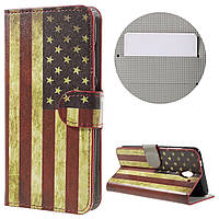 Чехол книжка TPU Wallet Printing для ZTE Blade A510 Retro American Flag