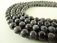 Бусины Ларвикит (Чёрный Лабрадорит, Чёрный Лунный камень), Натуральный камень, На нитях, 8 мм, Шар, 48 шт/нить
