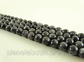 10 мм Бусины Ларвикит (Чёрный Лабрадорит, Чёрный Лунный камень), Натуральный камень, На нитях, Шар, 40 шт/нить, фото 2