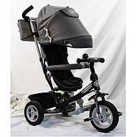 Детский трехколесный велосипед M 3452-1FA, надувные колеса, серый