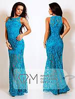 Платье нарядное длинное набивной гипюр Размеры: S,M,L, фото 1