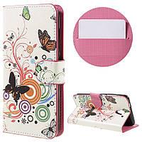 Чехол книжка TPU Wallet Printing для ZTE Blade A510 Butterflies and Circles