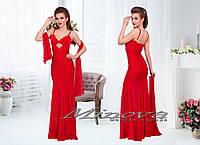 Длинное вечернее платье на бретелях верх-трикотаж юбка-шифон + шифоновый шарф Размеры:S-M, M-L, фото 1