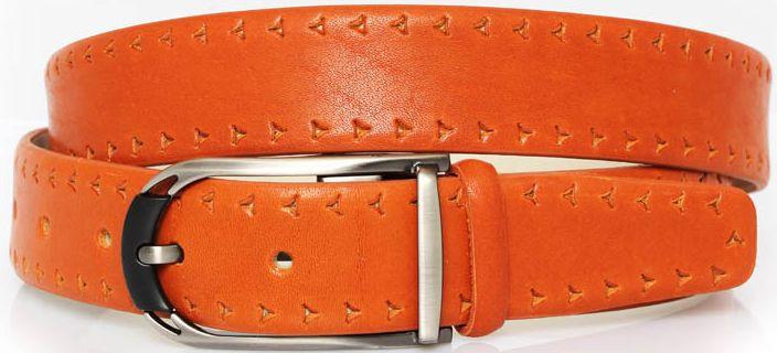 Надежный ремень из кожи для брюк MYKHAIL IKHTYAR 3753 оранжевый