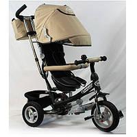 Детский трехколесный велосипед M 3452-4FA, надувные колеса, бежевый