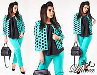 Костюм брючный тройка с блузкой и пиджаком размеры 50,54,56