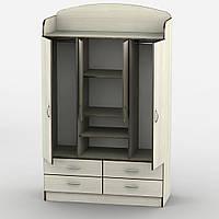 Большой четырехдверный шкаф в спальню ШДУ-3, дуб молочный