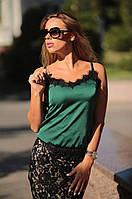 Женский Топ из шелка с кружевом ресничка
