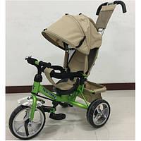 Детский трехколесный велосипед Tilly Trike T-343, бежевый+зеленый