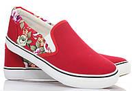 Летние женские слипоны красного цвета, фото 1