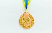 Медаль спорт.двухцветная Единоборства (3 место;покрытие в 2 тона;металл, d-6,5см, 56g, на ленте)