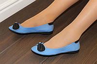 Т722 - Балетки женские голубые с черным экокожа