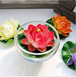 Цветок Лотоса декоративный плавающий 10 х10х5 см(водяная лилия) розовый, фото 5