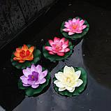Цветок Лотоса декоративный плавающий 10 х10х5 см(водяная лилия) розовый, фото 6