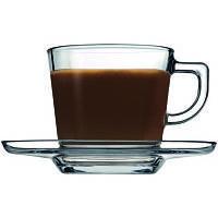 Набор стеклянных чашек pasabahce 95307 6 штук 215 мл с блюдцами baltic