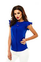 Жіноча блузка з креп шифону з коротким рукавом кольору електрик