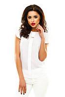 Женская блузка из креп шифона с коротким рукавом молочного цвета
