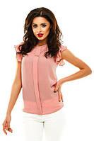 Женская блузка из креп шифона с коротким рукавом персикового цвета