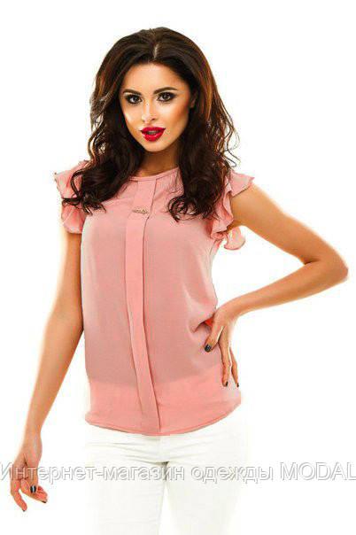 4a53aba2743 Женская блузка из креп шифона с коротким рукавом персикового цвета ...