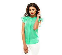Женская блузка из креп шифона с коротким рукавом мятного цвета