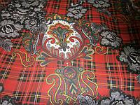"""Ткань декоративная   """"Узоры на красной шотландке"""""""