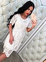 Стильное кружевное платье,цвет белый,пудра