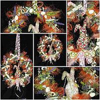 Декор пасхальный ручной работы - веночек, около 30 см, 195/175 (цена за 1 шт. + 20 гр.)