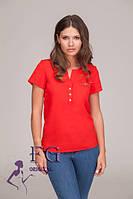 Летняя женская блуза бантик из креп - шифона прямого силуэта