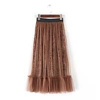 Удлиненная бархатная юбка, фото 1