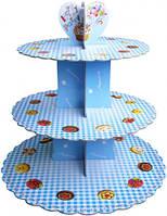 """Подставка для капкейков на 3 яруса """"Голубая в клетку"""""""