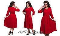 Платье женское шелковистый креп юбка клеш размеры 50-56