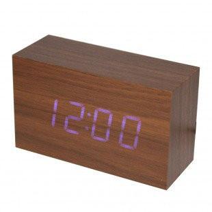 Настольные часы VST-863-5 с синей подсветкой в виде деревянного бруска
