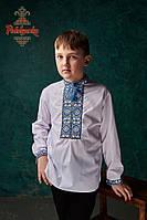 Вишиванка для хлопця Орнамент блакитний 11-12/146-152, Сорочкова