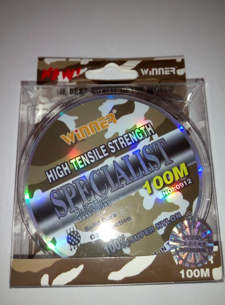 Монофильная леска WINNER SPECIALIST 100m 0.28mm  10,5 кг