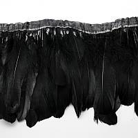 Тесьма перьевая из гусиных перьев.Цвет Black. Цена за 0.5м