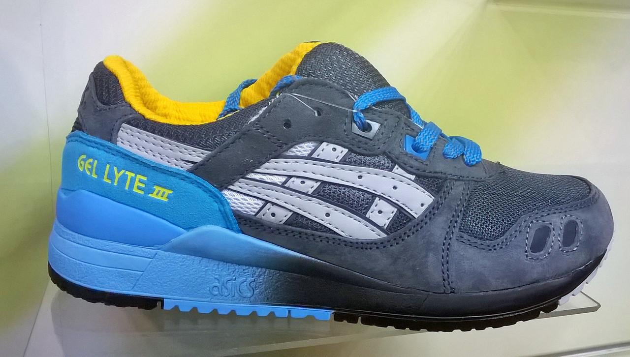 Мужские кроссовки Asics Gel Lyte 3 серые с голубым, размеры с 41 по 45