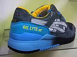 Мужские кроссовки Asics Gel Lyte 3 серые с голубым, размеры с 41 по 45, фото 3