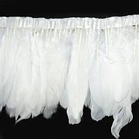 Тесьма перьевая из гусиных перьев.Цвет White. Цена за 0.5м