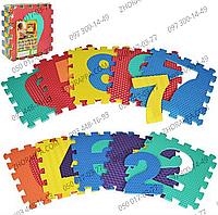 Коврик мозаика M 2608 EVA цифры, 10 деталей 31,5*31,5*1 см, массажный, 6 текстур, в кульке 31,5*31,5*10 см