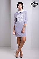 Женское серое платье с черепом Николет Luzana 42-50 размеры