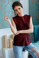 Блузка приятная к телу с поясом из креп-шифона