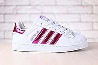 Женские кроссовки, белые, кожаные, с неоновыми вставками цвета фуксии, на шнурках, на белой подошве, 36-41 р-р